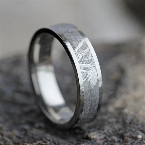 Mens Meteorite Wedding Band Mens Wedding Ring Womans Wedding
