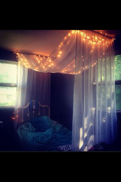 white bed canopy with christmas lights super cute my