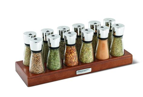 Spice Rack Empty Jars cole and wood spice rack with glass jars 12 jar brown ebay