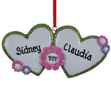 bff hearts personalized ornament