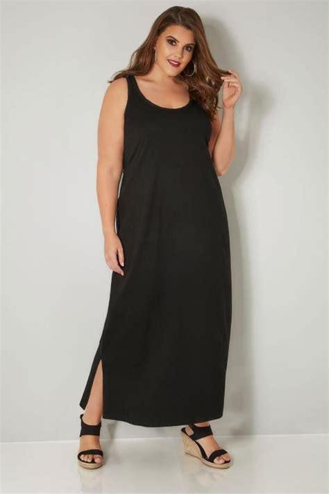 Id 740 Split Mesh Dress black sleeveless maxi dress with plait trim plus size 16