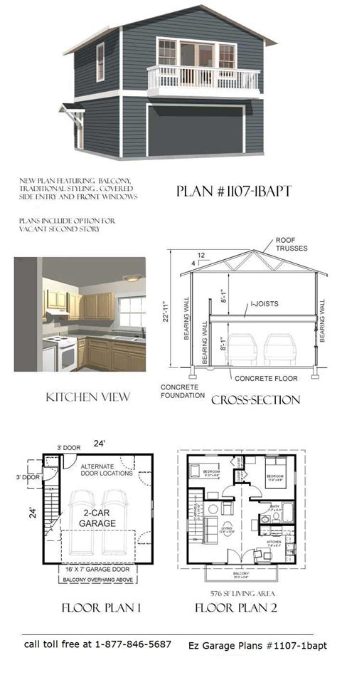 garage plans with 2 bedroom apartment above ez garage plans