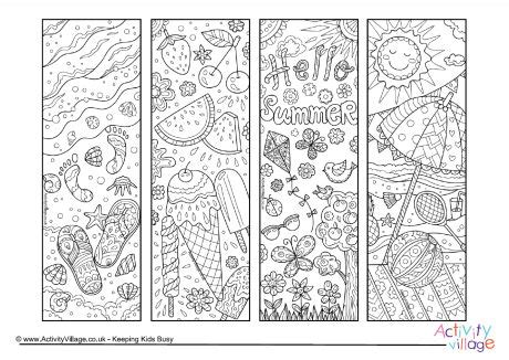 summer coloring pages activity village summer doodle colouring bookmarks