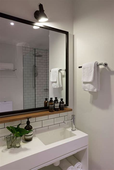 wooden bathroom mirror with shelf small wood shelf under mirror hassell projects ovolo