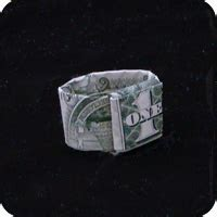 Money Origami Ring - dollar origami ring with adjustable band made with
