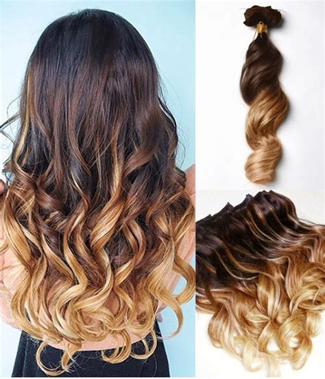 obre dye dip golden medium length hair brown to blonde dip dye ombre indian remy clip in hair