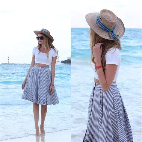 natalie ast zara striped midi skirt straw hat