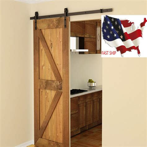 Antique Sliding Barn Doors 6 Ft Black Modern Antique Style Sliding Barn Wood Door Hardware Closet Set Ebay