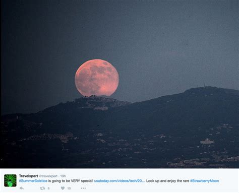 strawberry moon lights up sky in rare lunar event abc news rare strawberry moon lights up night sky on summer