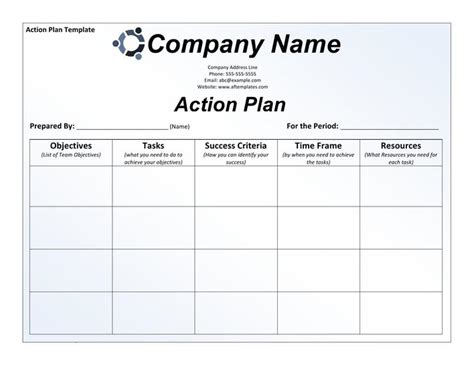 smart action plan template word