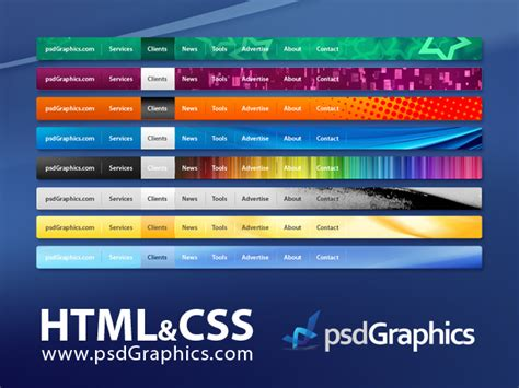 html menu bar template psd web navigation html and css menus set psdgraphics