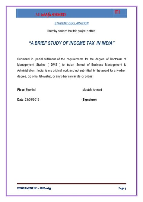 Mba Taxation Programs In India by Mustafa Ahmed Project Report On Income Tax Of India