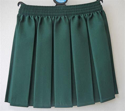 bottle green box pleat skirt
