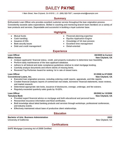 best loan officer resume exle livecareer