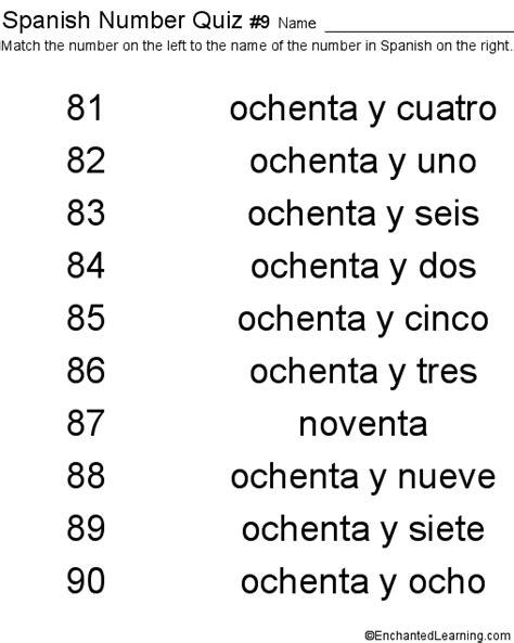 printable spanish numbers quiz spanish numbers quiz 9 printout children s dictionary