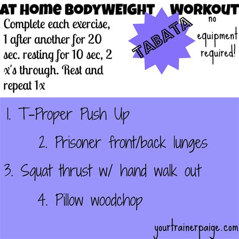 at home workout no equipment required tabata kumpf