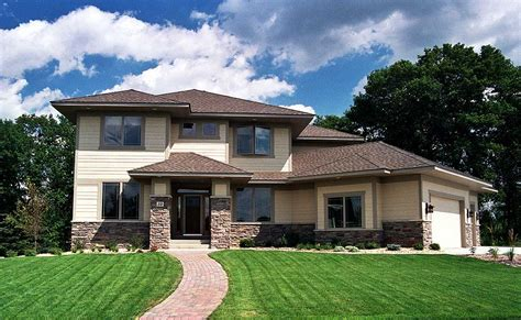 Prairie Style House Plan with Angled Garage   14410RK