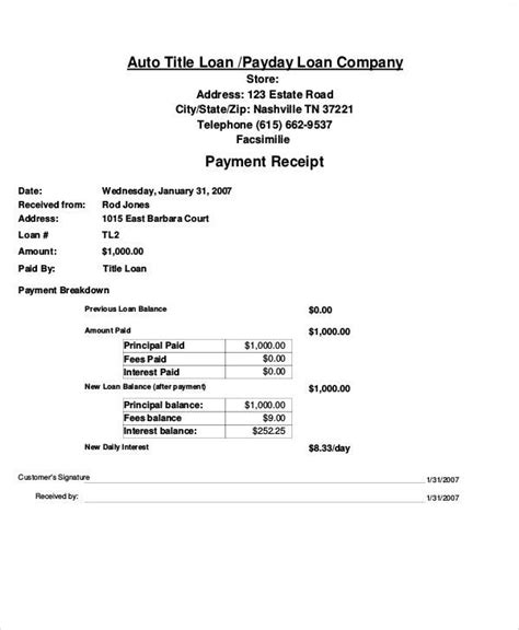car payment receipt template 28 images car selling