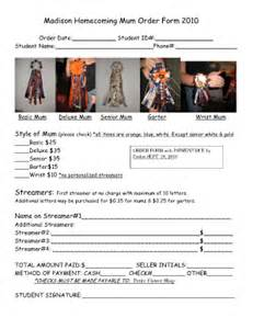 homecoming mum order form template fill online