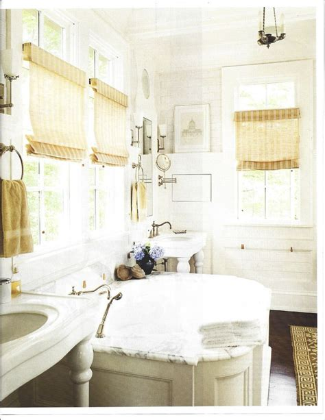 Country Farm House Marble Bath With White Tile And Pops Of Yellow Beautiful