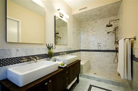 Bathroom With Open Shower Open Shower Design Contemporary Bathroom Carlyle Designs