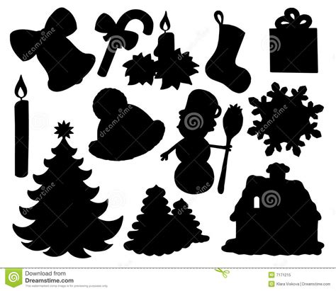 printable christmas silhouettes silhouette collection 02 stock vector image 7171215