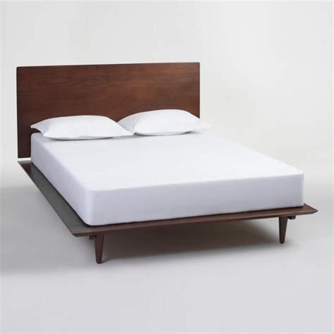 world market bed frame walnut brown wood barrett queen bed world market