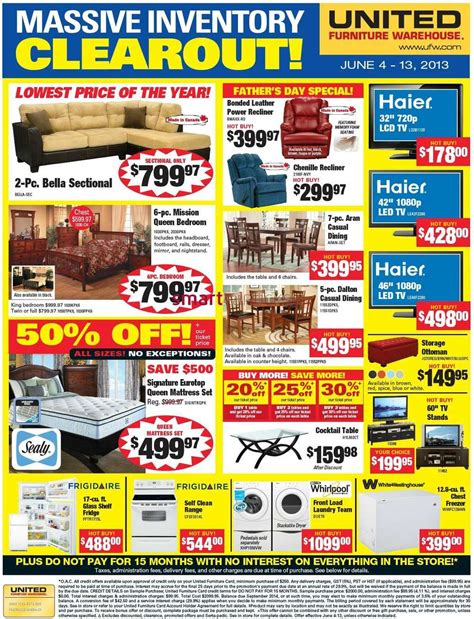 united furniture warehouse flyer jun