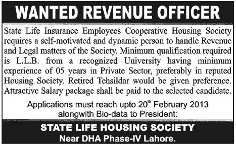state life insurance housing society lahore revenue officer job at state life insurance employees cooperative housing society