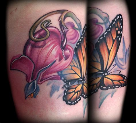 turnpike tattoo bleeding hearts and monarch butterfly by doty