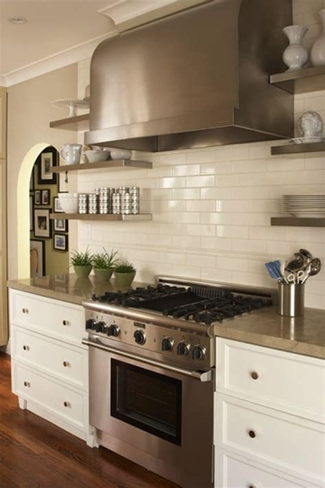 Italian Canisters Kitchen by Floating Stainless Steel Shelves Kitchen Transitional