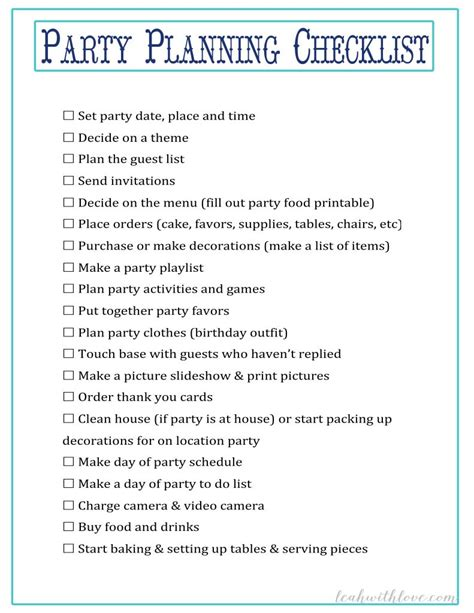 planning a house party checklist sweet 16 party planning checklist home party ideas