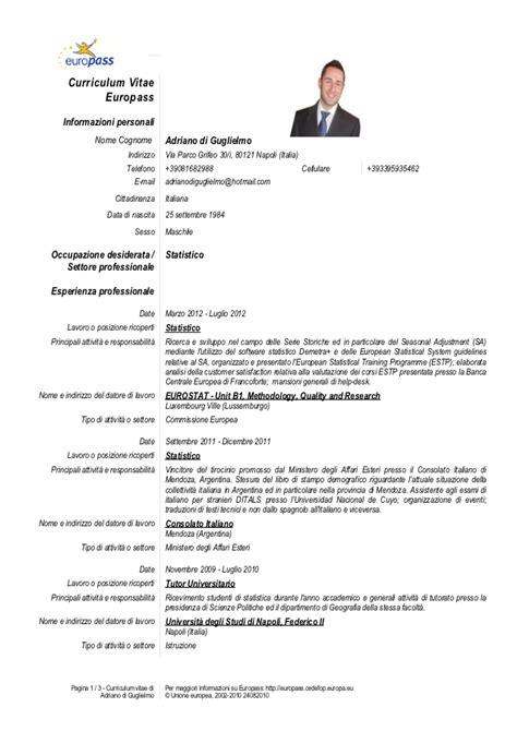 Formato Europeo Curriculum Vitae Spagnolo Cv Di Guglielmo Ita