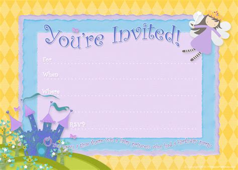 free printable party invitations fairy princess birthday