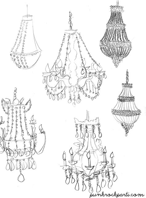 how to draw a chandelier sketch