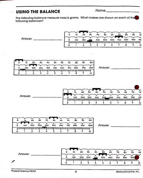 Measuring Mass Beam Balance Worksheet by Worksheets And Study Guides Bioscience