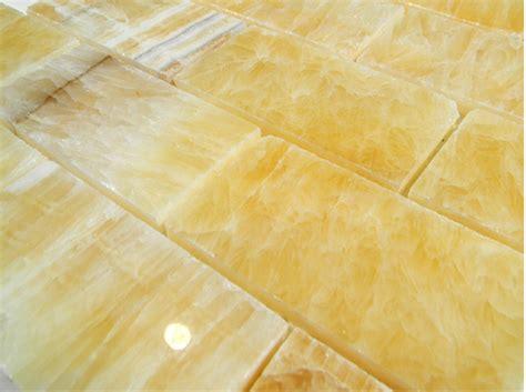 honey onyx polish 2x4 x 8mm brick pattern glass tile