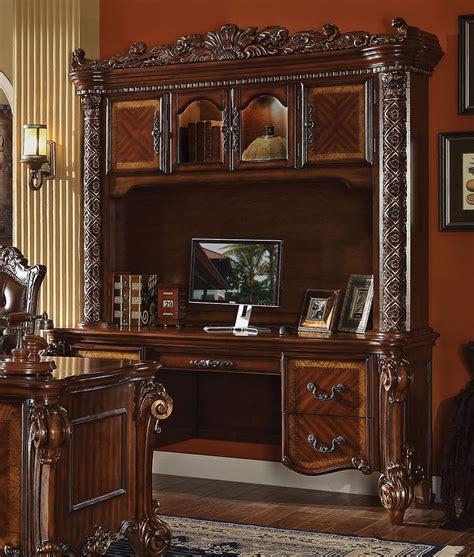 ornate desk vendome ornate traditional computer desk hutch in brown