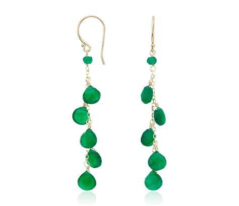 Dangle Earring green agate dangle earrings in 14k yellow gold 7mm