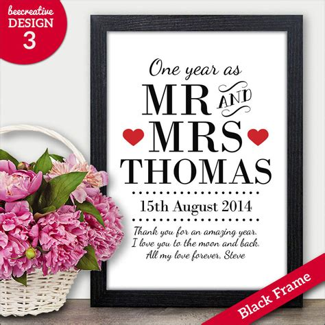 Wedding Anniversary Gifts by 1st Paper Wedding Anniversary Gift Personalised One Year