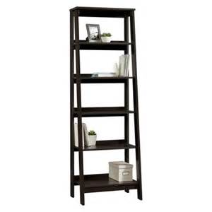leaning ladder bookcase 5 shelf trestle bookcase espresso target