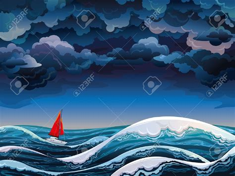 cartoon boat in storm storm clipart rough sea pencil and in color storm