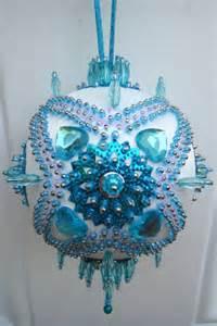 satin beaded christmas ornament kit turquoise garden by