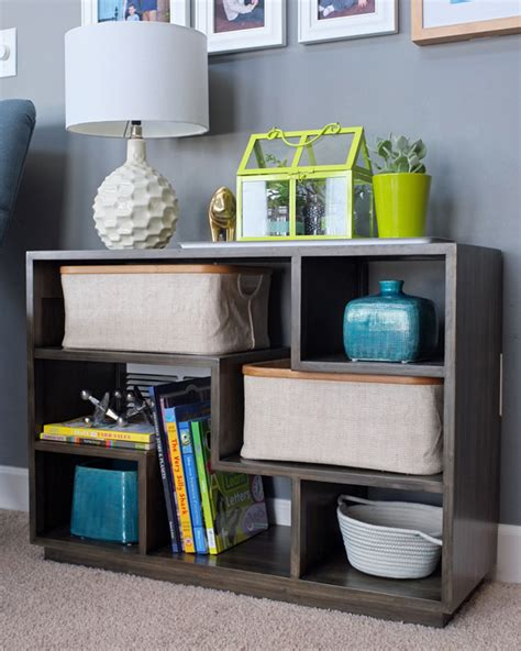 styling a tetris bookshelf sans books teal and lime by