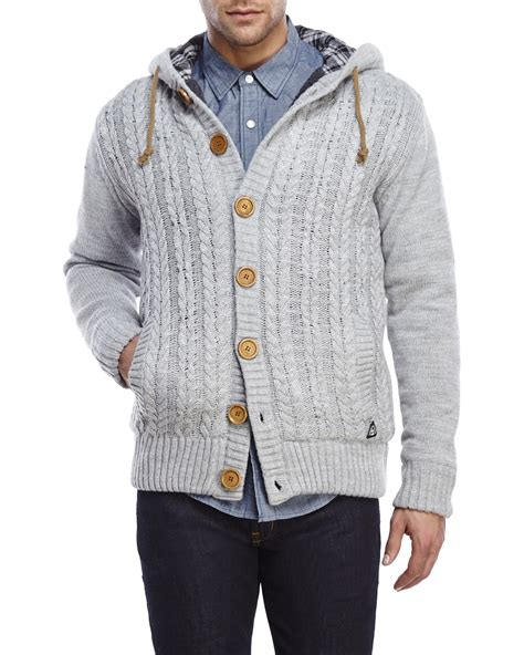 hooded cable knit cardigan american stitch cable knit hooded cardigan in gray for