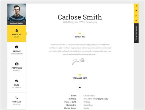 premium layers html vcard resume template the book personal vcard template premium resumes