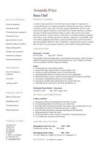 Sle Resume For A Chef by Sous Chef Description For Resume
