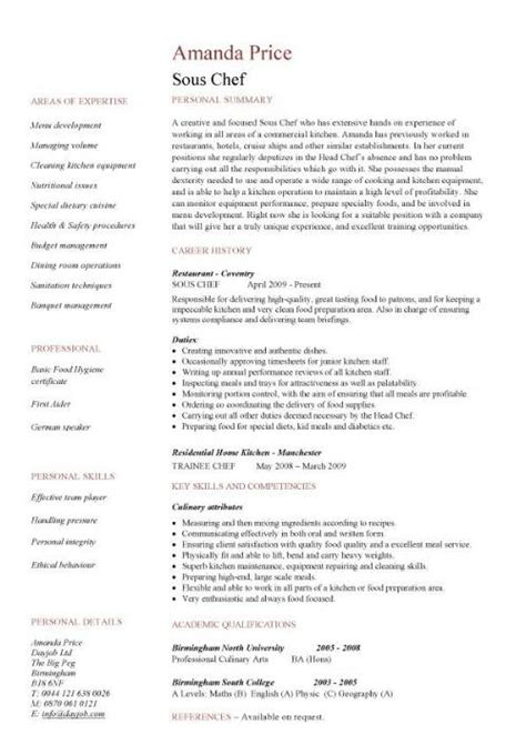 cv template chef sous chef resume cv exles what is a sous chef