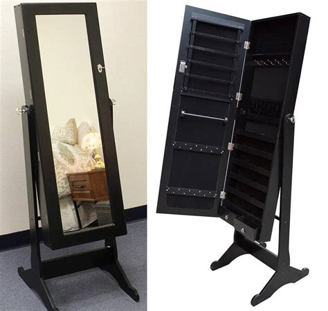 Black Jewelry Armoire Mirror black wood mirrored jewelry armoire cabinet stand mirror necklace bracelet ring ebay
