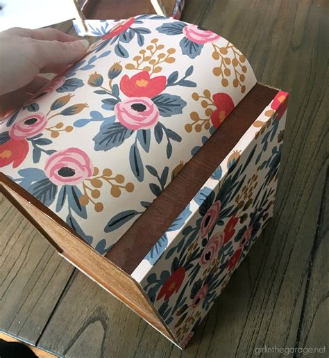 Wrapping Paper Decoupage - wood box makeover with wrapping paper in the garage 174